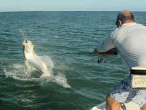 Fly fishing for tarpon should be good during June. Jeb Mulock, from Bradenton, FL, caught and released this one on a fly while fishing with Capt. Rick Grassett in a previous June.