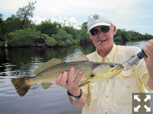 September is usually a good month to fish the flats. Keith McClintock, from Lake Forest, IL, had good action with trout with Capt. Rick Grassett in a previous September.