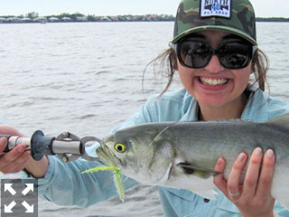 Mireya Castillo from Salt Lake City, caught and released a nice bluefish in a previous December.