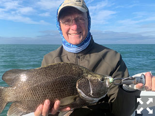 Denton Kent, from Sarasota, with a nice tripletail caught and released on a fly while fishing the coastal gulf in Sarasota with Capt. Rick Grassett.