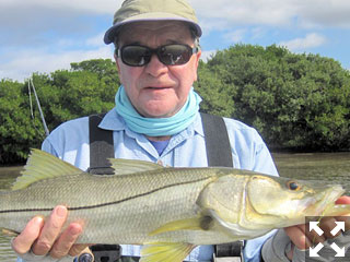 Nick Reding, from St. Louis, waded a sand bar to catch and release this snook on a fly in a previous January with Capt. Rick Grassett.