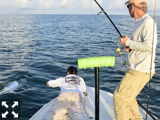 June should be a great month to fish for tarpon. Dave Reinhart, from MA, caught and released this one while fishing with Capt. Rick Grassett in a previous June.