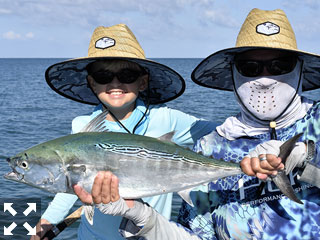 Cliff and Mason Ondercin, from Sarasota, with a false albacore (little tunny) that Mason caught and released while tarpon fishing in the coastal gulf with Capt. Rick Grassett recently.