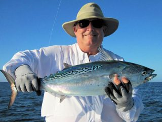 False albacore should be a good option in the coastal gulf during Dec. Lynn Skipper, from Tampa, caught and released this one on a fly in a previous December while fishing the coastal gulf with Capt. Rick Grassett.