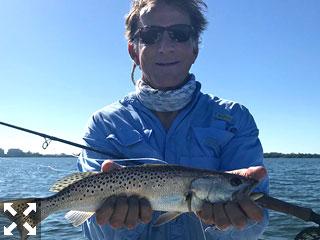 John Harshman enjoyed an active morning of fly fishing on Sarasota Bay.