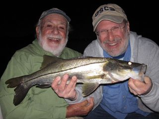Bruce Marlowe, from SC, with a snook caught and released on a fly while fishing the ICW at night during a previous March with Capt. Rick Grassett.