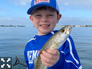 This young man was having the time of his life on the waters of Sarasota Bay with Capt. Brian Boehm.