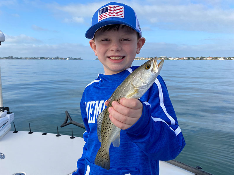 This young man was having the time of his life on the warm waters of Sarasota Bay with Capt. Brian Boehm.
