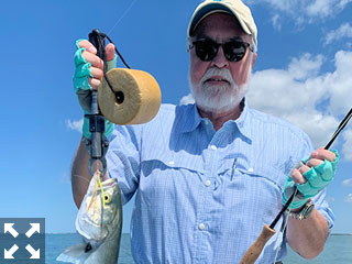 Dave Wahl, from Lakewood Ranch, with a bluefish caught and released on a Clouser fly while fishing Sarasota Bay with Capt. Rick Grassett recently.