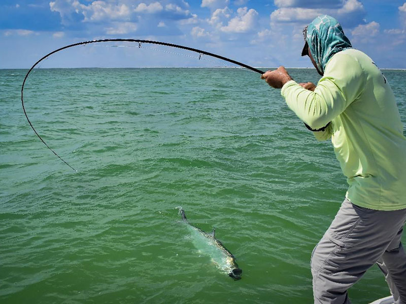 July is a great month to fly fish for tarpon. Justin Hamblet, from Sarasota, caught and released this one on a fly while fishing with Capt. Rick Grassett in a previous July.