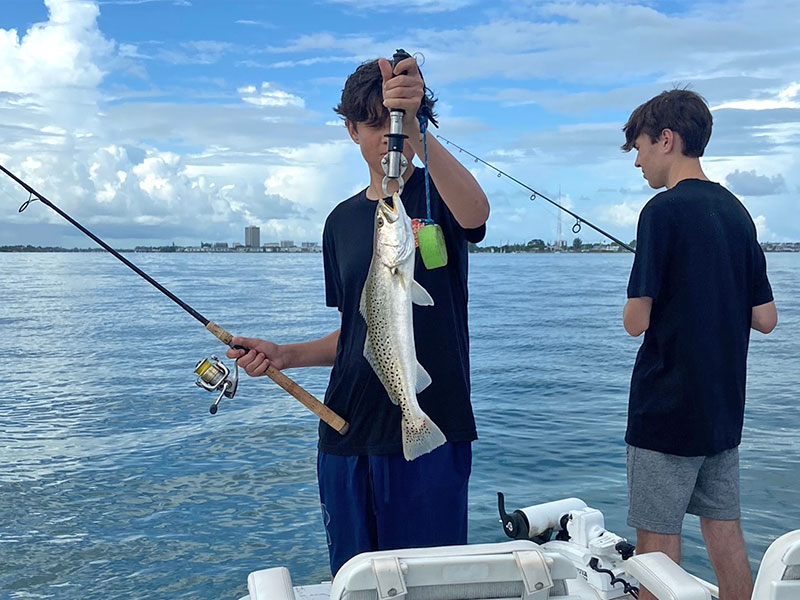 Sarasota Bay is a long way from Chicago as these boys can attest.